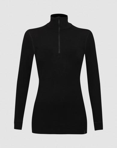 Women's long sleeve merino wool high-neck top with zip- black
