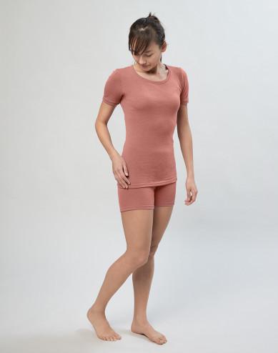 Women's merino wool pant shorts- Dark Pink