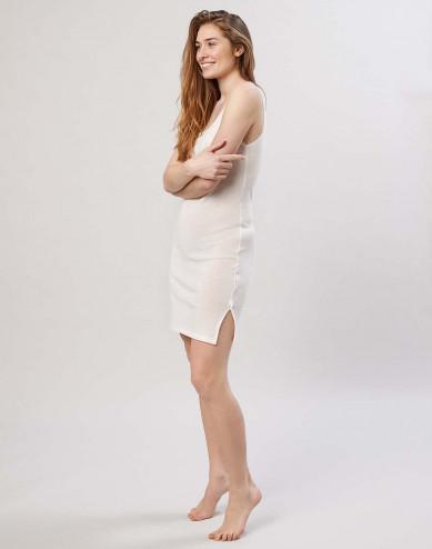 Women's strappy merino wool dress- nature