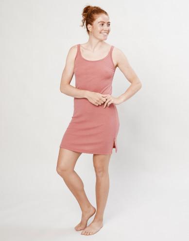 Women's merino wool strap dress- Dark Pink