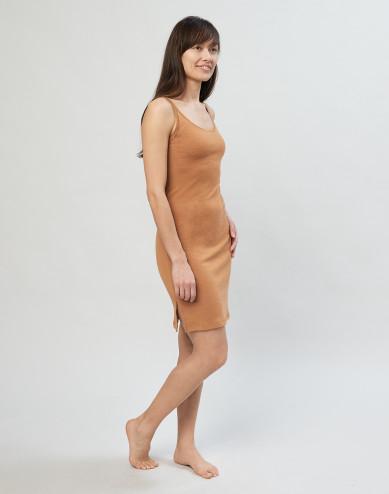 Women's strappy merino wool dress- caramel