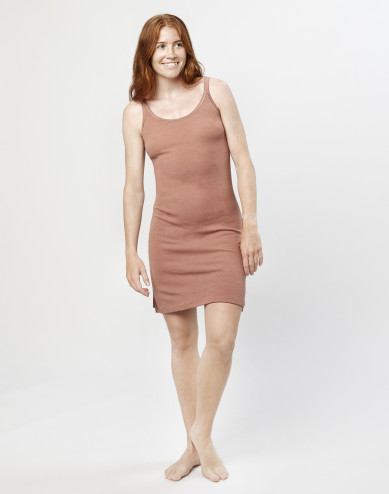Merino wool strappy dress- Powder