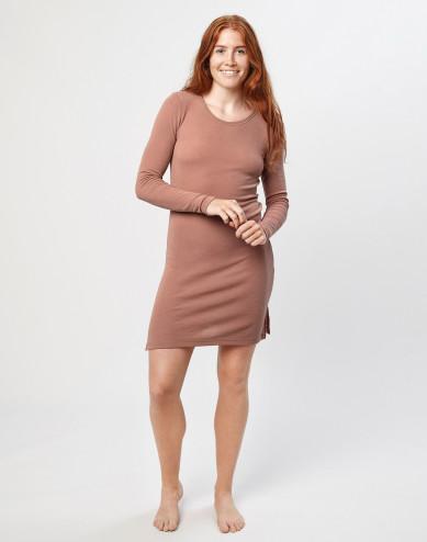 Merino wool long sleeve dress- Powder