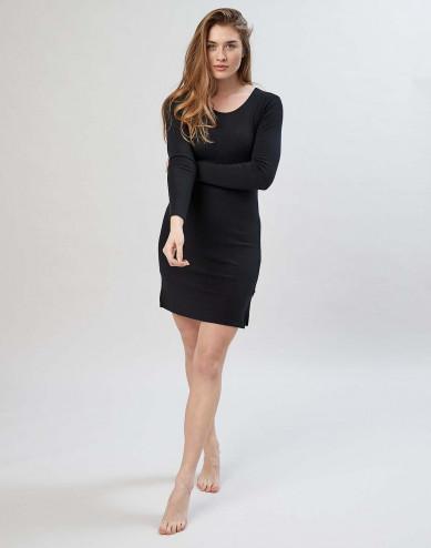 Women's merino wool long sleeve dress- black