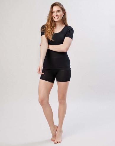 Women's merino wool shorts with wide elastic band black