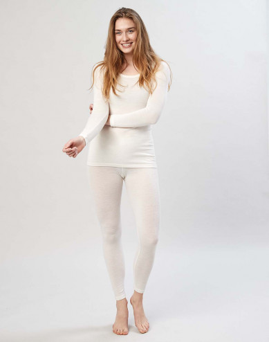 Women's merino wool leggings w. wide elastic band nature