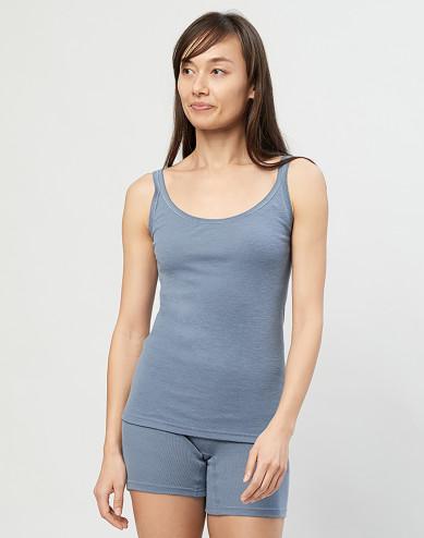 Ladies merino wool strap top- Blue
