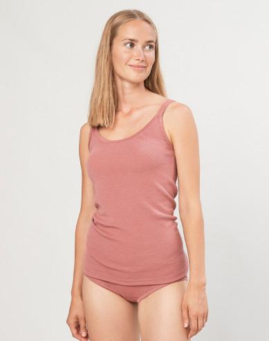 Women's merino wool strap top- Dark Pink