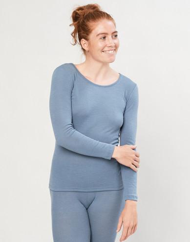 Women's organic merino wool long sleeve top- Blue