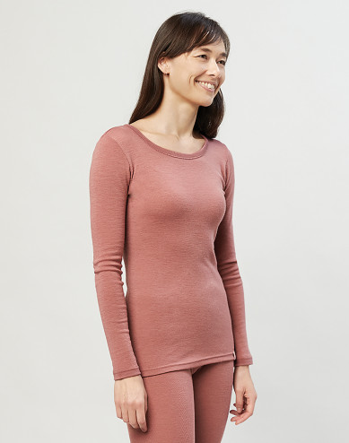 Women's organic merino wool long sleeve top- Dark Pink