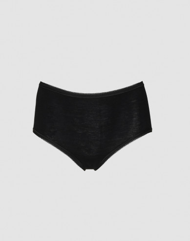 DILLING women's plus size merino wool briefs- black