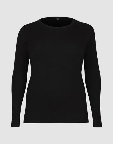 DILLING women's plus size long sleeve merino wool top- black