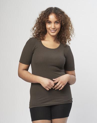 Women's ribbed T-shirt- Dark Chocolate