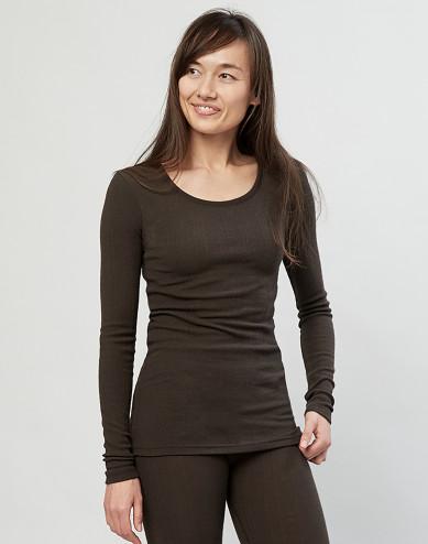 Women's ribbed merino wool sweater- Dark Chocolate