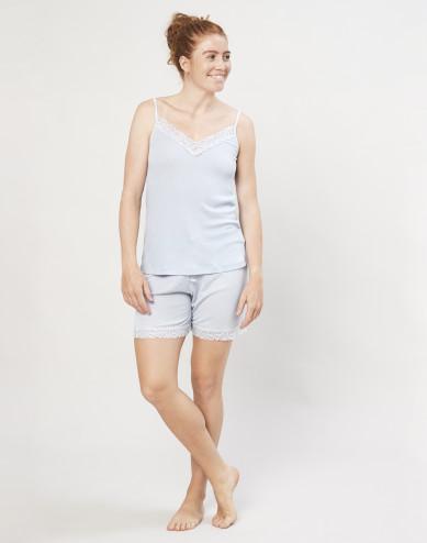 Women's organic wool/silk pyjama shorts- light blue