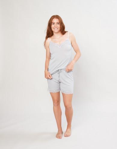Women's organic wool/silk pyjama shorts- grey