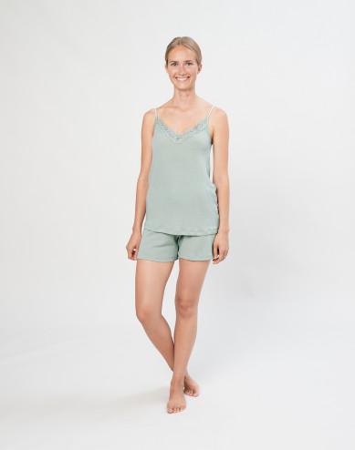 Women's natural wool/silk bed shorts- Pastel Green