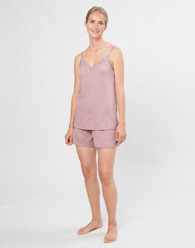 Women's natural wool/silk bed shorts- Pastel Pink