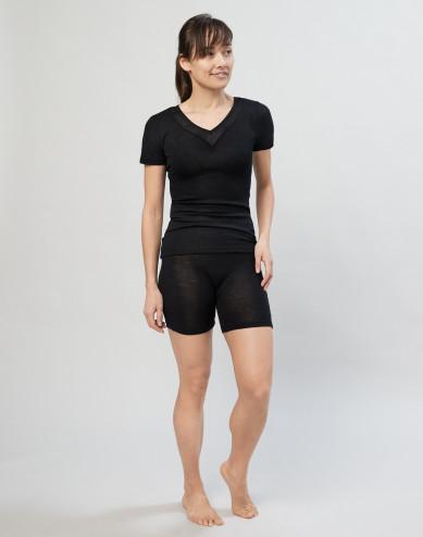 Women's wool/silk blend shorts- black