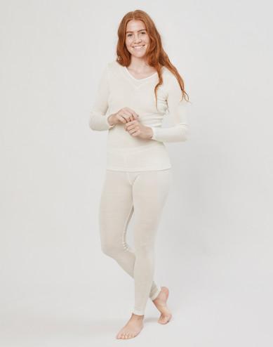 Women's wool/silk leggings- nature