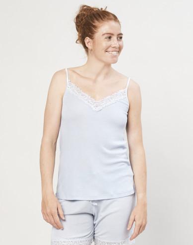 Women's wool/silk pyjama top- light blue