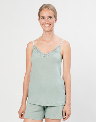 Women's natural wool/silk lace tank top- Pastel Green