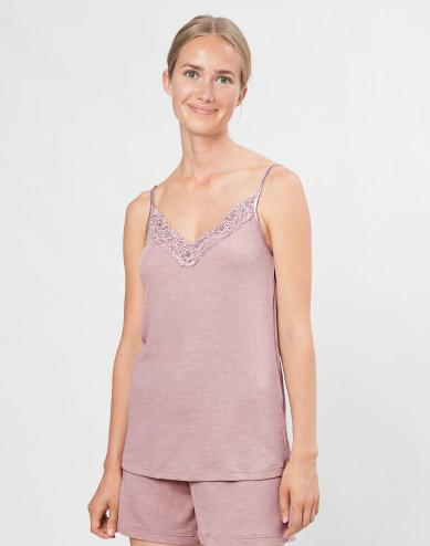 Women's natural wool/silk lace tank top- Pastel Pink