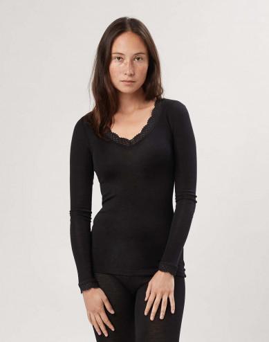 Women's merino wool/silk lace trim long sleeve top