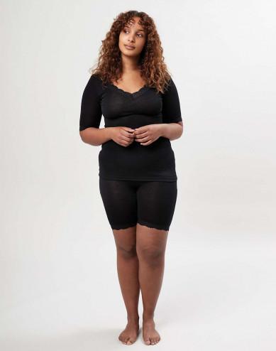 Women's merino wool/silk lace trim shorts