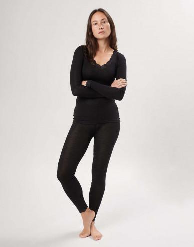 Women's merino wool/silk lace trim leggings