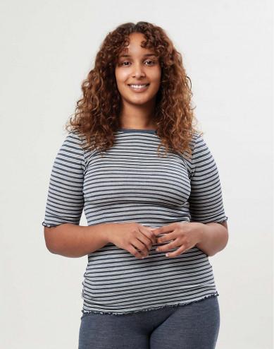 Women's merino wool/silk T-shirt with frilled edges