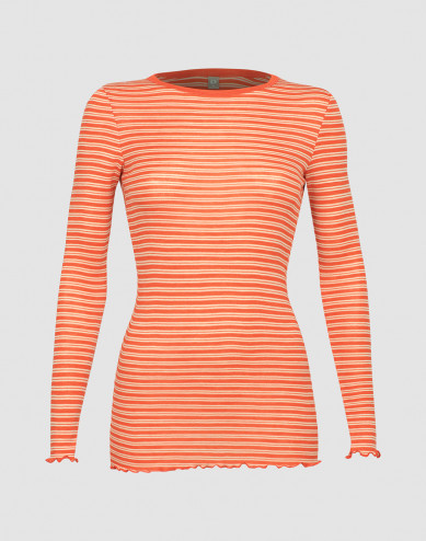 Women's merino wool/silk long sleeve top with frilled edges