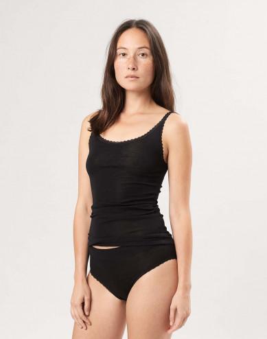 Women's merino wool/silk strap top