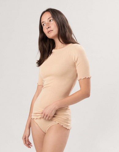 Women's merino wool/silk pointelle T-shirt