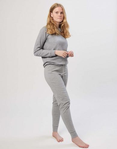 Women's cotton pyjama bottom- grey melange