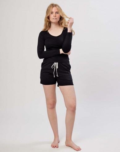 Women's cotton shorts- black