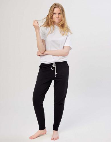 Women's cotton jogging bottoms- black
