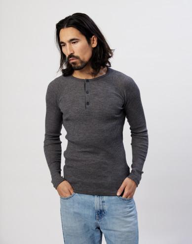 Men's ribbed button neck merino wool top dark- grey melange