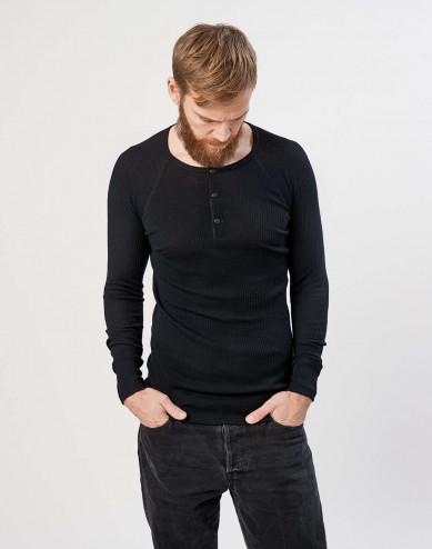 Men's ribbed button neck merino wool top- black