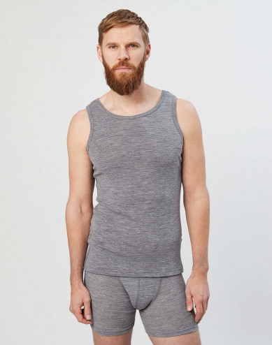 Men's merino wool tank top- grey melange