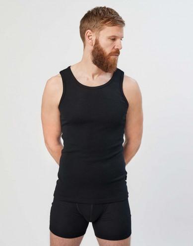 Men's merino wool tank top- black
