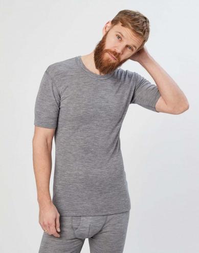 Men's merino wool t-shirt- grey melange