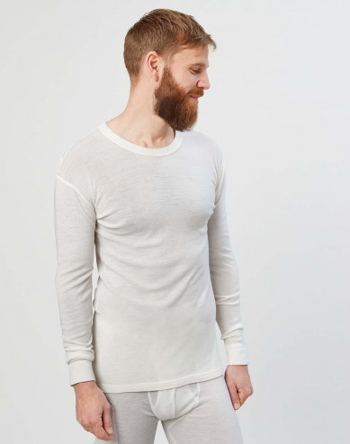 Men's long sleeve merino wool base layer- nature