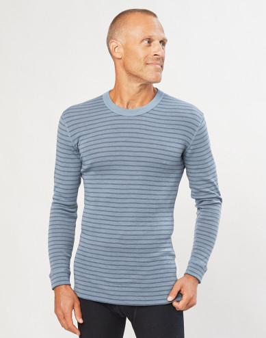 Men's merino wool long sleeve top- Blue Stripe