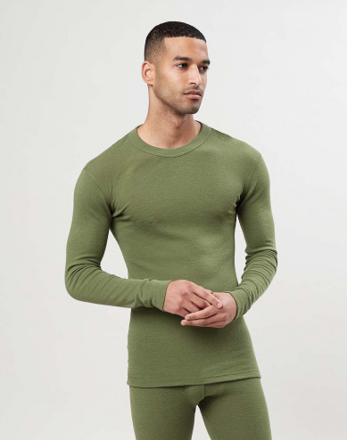 Men's merino wool long sleeve top - Avocado green