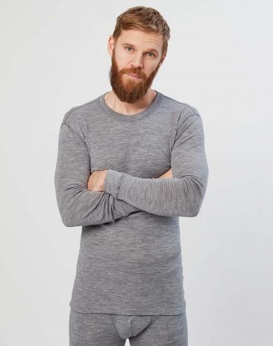 Men's long sleeve merino wool base layer- grey melange