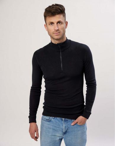 Men's zip neck merino wool top- black