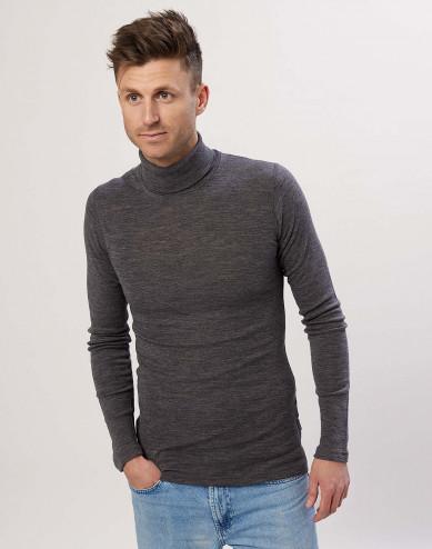 Men's merino wool turtleneck top Grey Melange