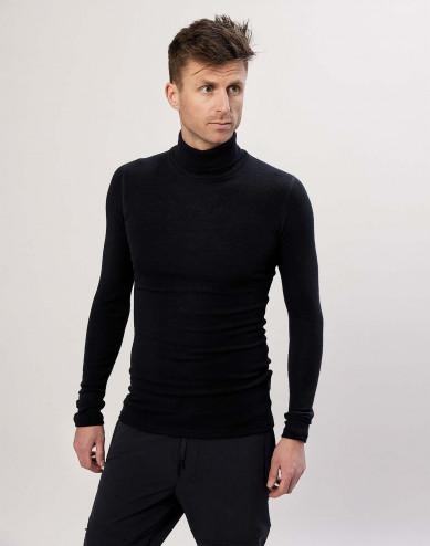 Men's merino wool turtleneck top- Black