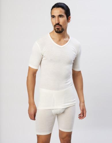 Men's merino wool V-neck T-shirt- nature